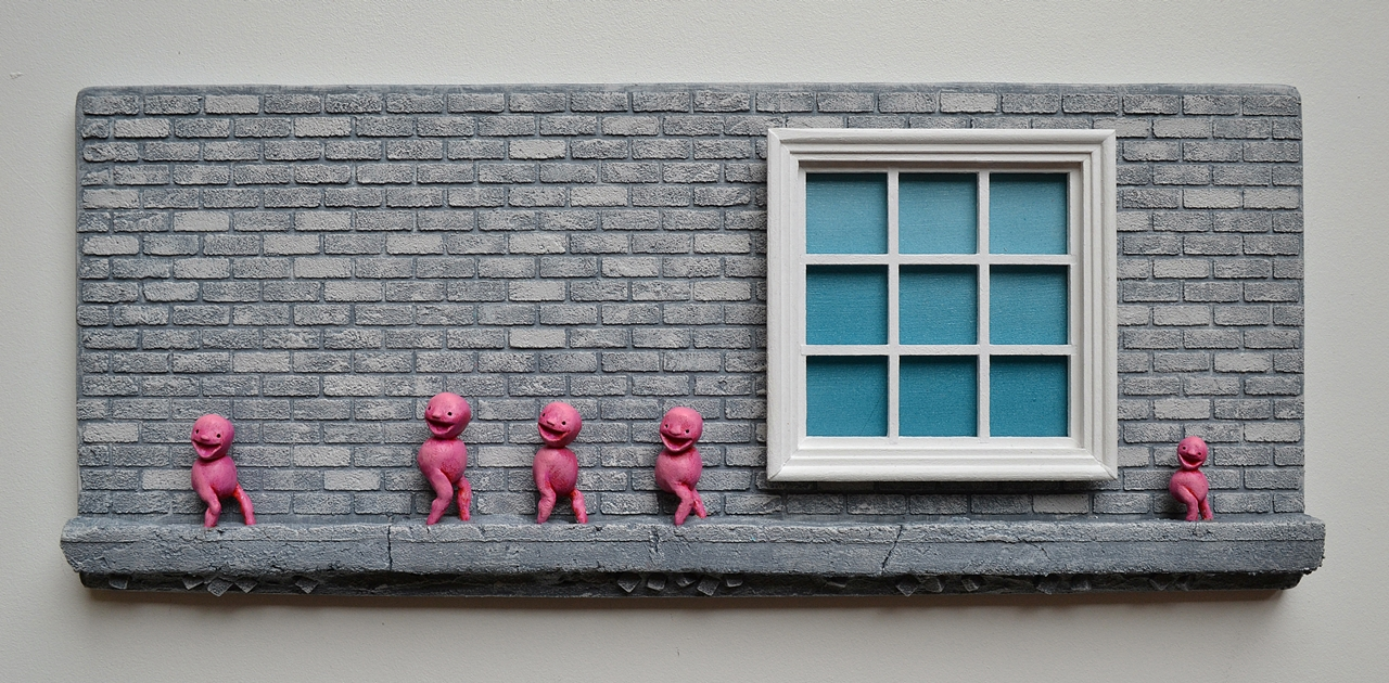 window_brick_wall_sculpture_pink_beings
