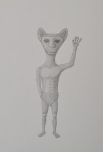 extraterrestrial being waving alien sketch pencil