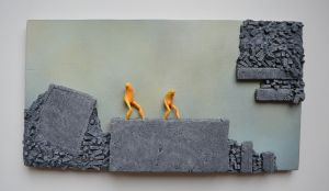 Coals - Surreal mixed media wall hanging sculpture - figurative - painting