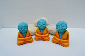 three happy monks meditating meditation buddhist sculpture fun statue blue orange yellow spiritual surreal 2-c94.JPG